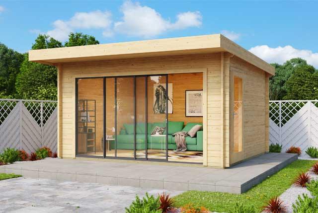 Gartenhaus Alu-Concept 44 E mit Glasschiebetür