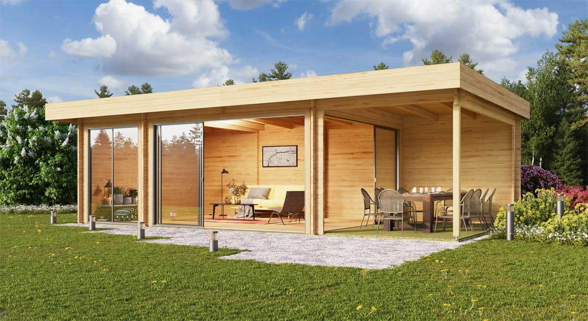 Gartenhaus Alu-Concept 44 O mit Glasschiebetür