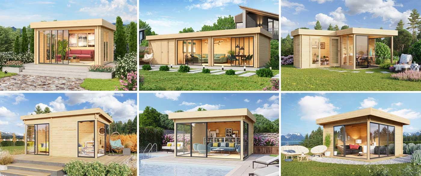 Gartenhäuser Serie Alu-Concept mit Glasschiebetüren