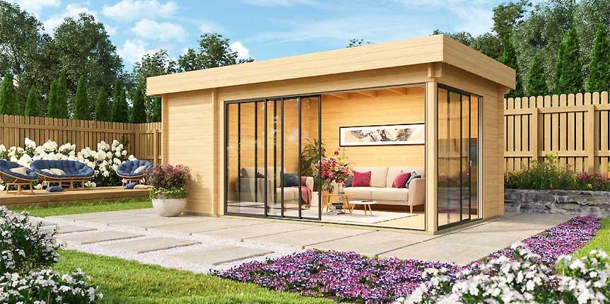 Neue Gartenhäuser mit Glasschiebetüren